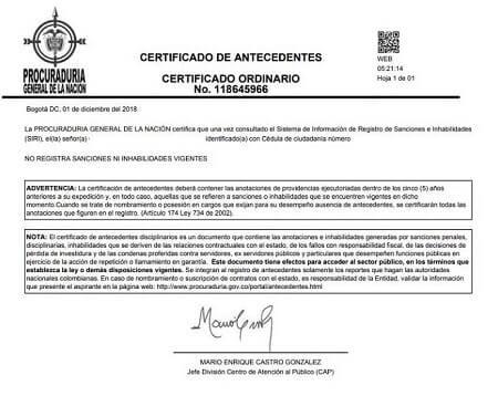 certificado de antecedentes de procuraduria