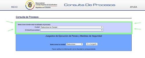 seleccion en la consulta de procesos